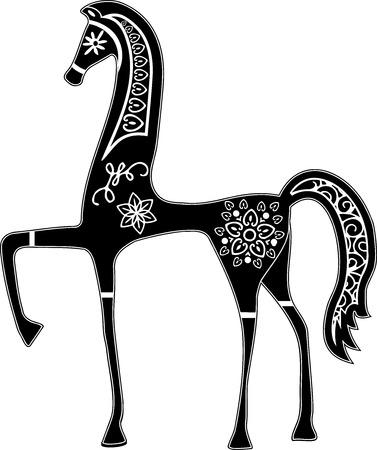 Illustrazione di cavallo con arabesco in Etruscanstyle