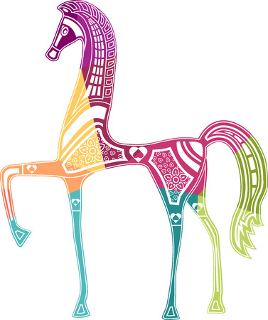 Colored illustration horse with arabesque in Etruscanstyle Illustration