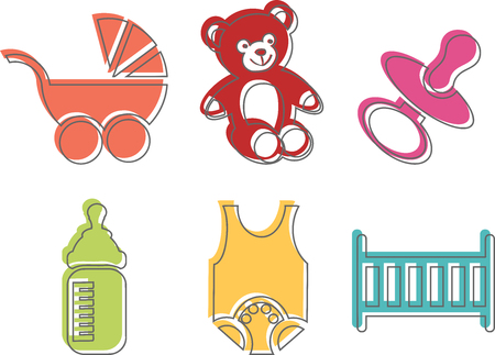 illustrating: Icons Illustrating the colorful world of babies