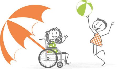 Discapacidad y de la playa Ilustración de vector
