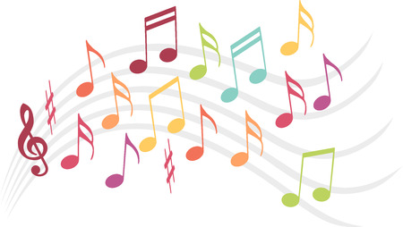 music theory: Colorful music notes sccm to dance were ranks of music Illustration