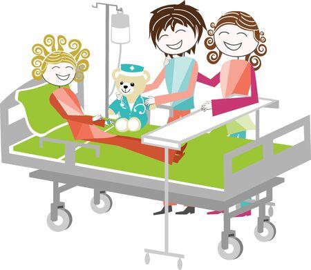 Un enfant sur un lit d'hôpital est visité par ses parents