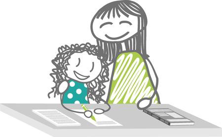 Un enfant à faire des devoirs avec un enseignant ou sa mère