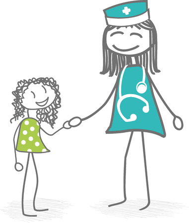 A doctor or nurse is caring for a child and reinsured _him_