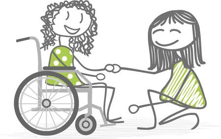 Una persona que ayuda a una silla de ruedas personas con discapacidad