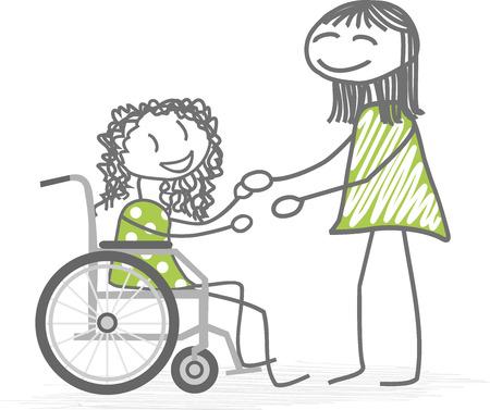 Una persona que ayuda a una silla de ruedas personas con discapacidad Foto de archivo - 60199003