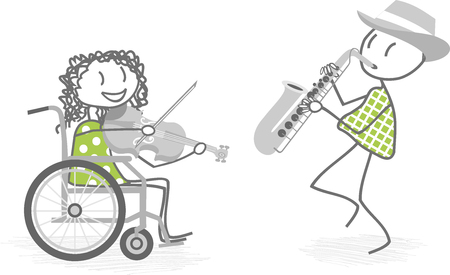 wheelchair access: A person in a wheelchair plays music with a person standing