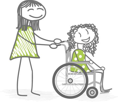 paraplegico: Una persona que ayuda a una silla de ruedas personas con discapacidad