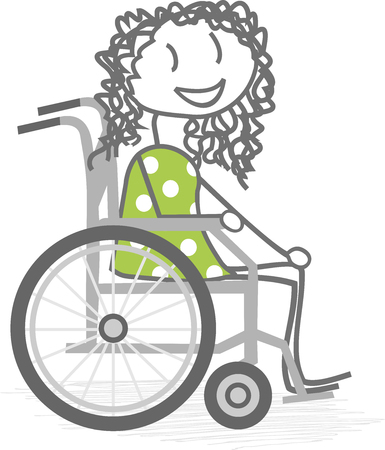 disabled access: A disabled girl in wheelchair Illustration