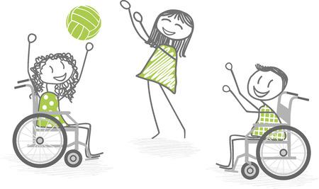paraplegico: Dos personas en sillas de ruedas jugando a la pelota con una persona de pie