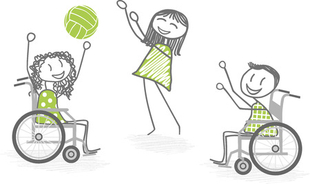 physiotherapist: Two people in wheelchairs playing ball with a standing person Illustration