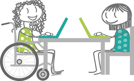 A person using a wheelchair working with Reviews another person Ilustração