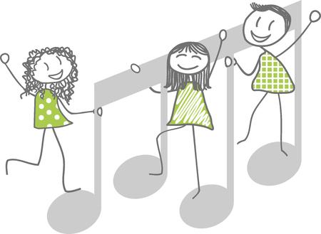 Men, women or children, play on musical note Illustration