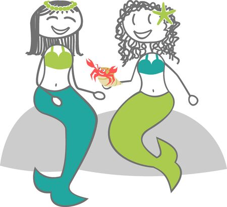 Two sirens are Discussed on a rock Illustration