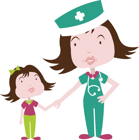A doctor or nurse is caring for a child Illustration