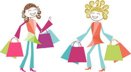 Two women make shopping with bags full of purchases Single