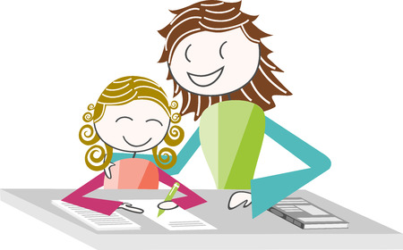 homework: A child doing homework with a teacher or His Mother