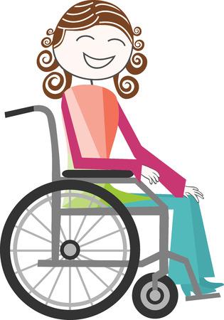 paraplegic: Una persona con una discapacidad en silla de ruedas muy alegre Vectores