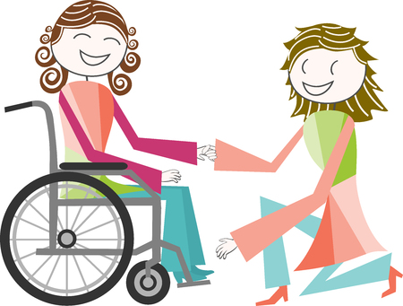 A disabled person in a wheelchair is assisted by a person