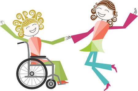 paraplegico: A person with a disability in wheelchair dancing with someone standing