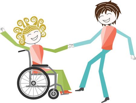 paraplegico: Una persona con una discapacidad en el baile de la silla de ruedas con una persona de pie Vectores