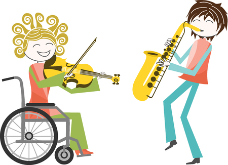 a person with a disability in wheelchair plays music with a friend standing Illustration