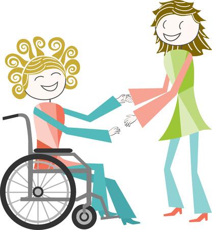 paraplegic: Una persona con una discapacidad en silla de ruedas es de ayuda por una persona de pie Vectores