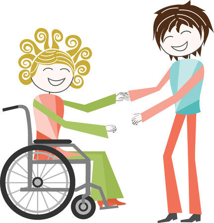 wheelchair access: A person with a disability in wheelchair is help by a standing person