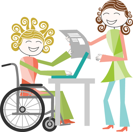 paraplegico: Una persona con una discapacidad en el trabajo renovable faureuil con una persona de pie