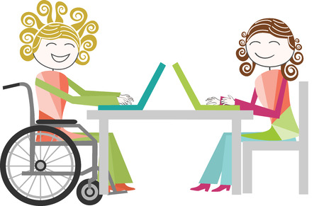 paraplegic: A person with a disability in faureuil rolling work with a person standing