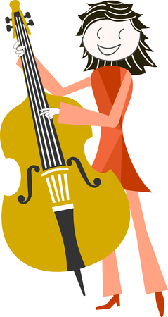 A musician with His instrument of music, double bass