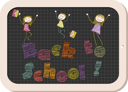schoolboys: Schoolboys, relatives or teachers jump with joy on the occasion of the new school year, drawn in chalk on a slate