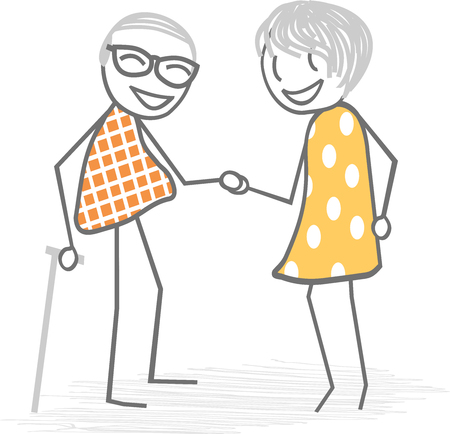 the great grandmother: A couple of old people hand in hand in the daily life Illustration