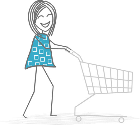 rummage: A woman pushes His shopping cart for shopping of food Illustration