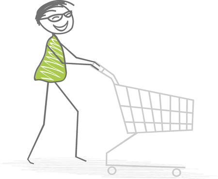 A man pushes His shopping cart for shopping of food