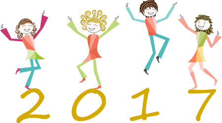 jump for joy: People jump for joy to celebrate the new year