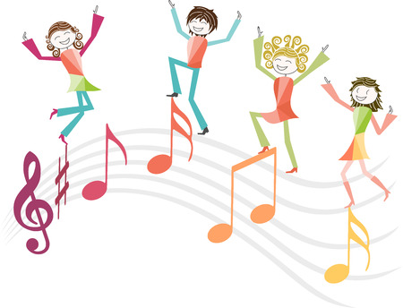 People dance or jump for joy on music notes