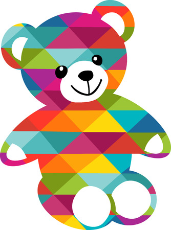 A very colorful bear sat down waiting for a child to come play with _him_
