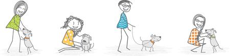 Men and women play, caress, or walk a dog