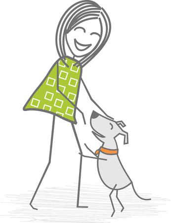 女性の再生、愛撫し、または犬の散歩