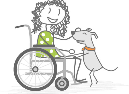 A disabled person in a wheelchair with a dog