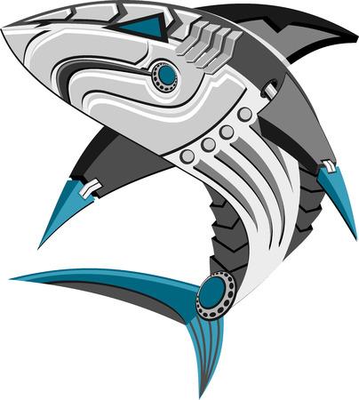 Illustration of a robot shark Vetores