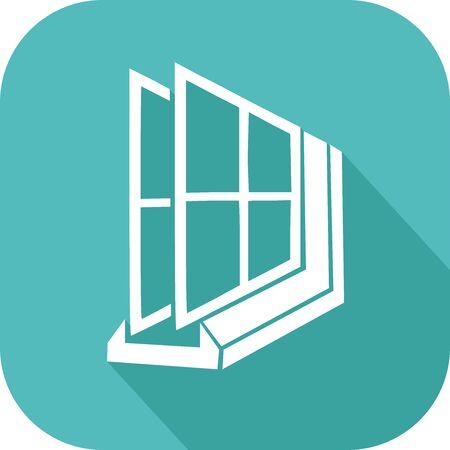 Icône de verre double coloré sur une fenêtre de la maison Vecteurs