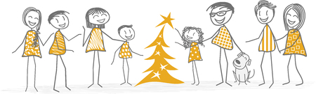A Christmas tree decorators help by family and friends Illustration