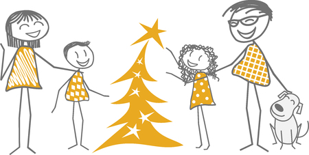 Friends and families gathering around children decorating a Christmas tree Illustration
