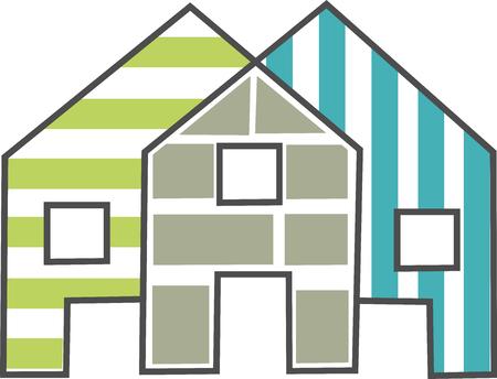 colorful, geometric and original house icon Ilustração
