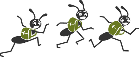 Ants run away with their bags on their backs