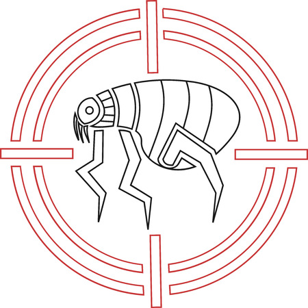 Abstract and geometric flea icon in a target