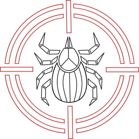 Abstract and geometric tick icon in a target