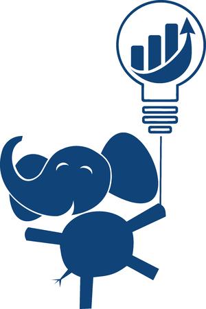 An elephant flies off a balloon with an economic bar chart